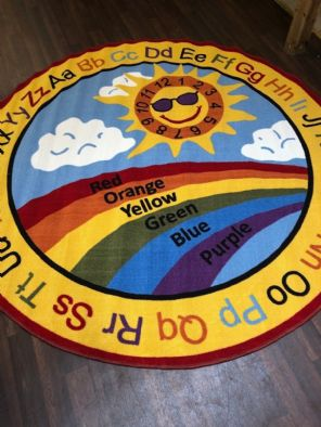 NEW SUN RAINBOW CHILDREN 200X200CM CIRCLE RUGS MATS HOME SCHOOL EDUCATION MULTI